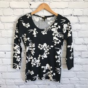 ESCADA Black White Floral 3/4 Sleeve Sweater